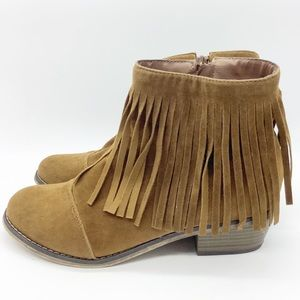 Breckelle's Western Fringe Trim Ankle Boots Brown